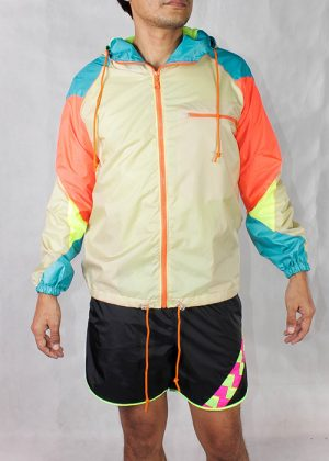 Orange zipper beige windbreaker Men