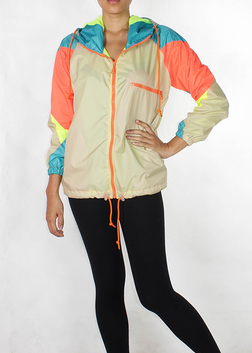 Orange zipper beige windbreaker w