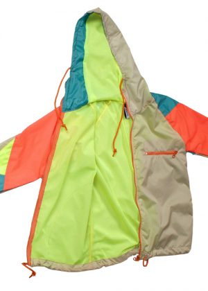 Orange zipper beige windbreaker open