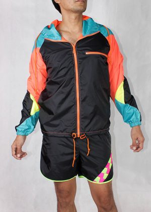 Orange zipper black windbreaker men