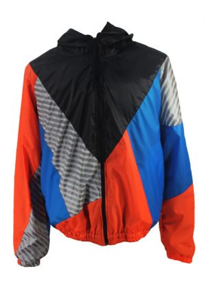 Black Hood Orange Blue Windbreaker Jacket Front