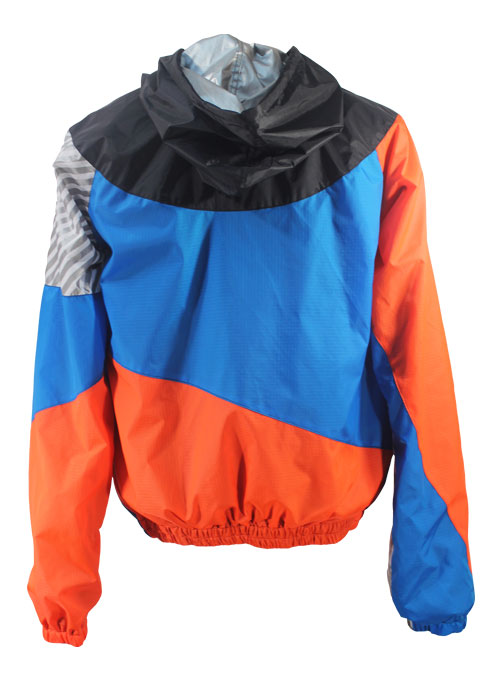 Black Hood Orange Blue Windbreaker Jacket Back
