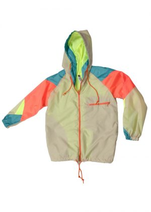 Orange zipper beige windbreaker zoom
