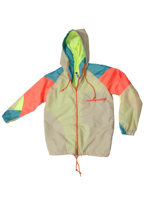 Orange Zipper Neon Yellow Beige Windbreaker