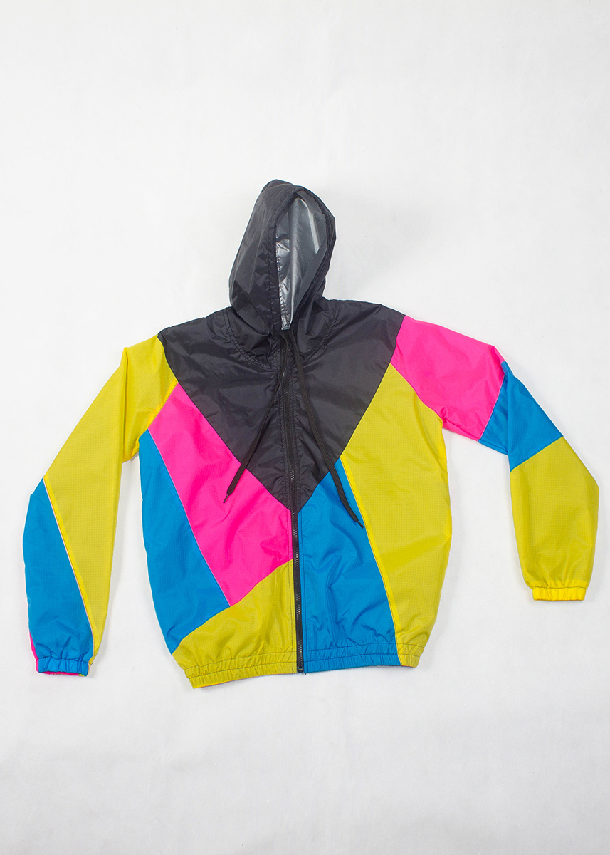 Yellow Pink Black Hood Windbreaker Zoom Front