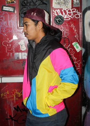 Yellow Pink Black Hood Windbreaker Men Side