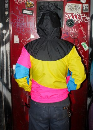 Yellow Pink Black Hood Windbreaker Men Back