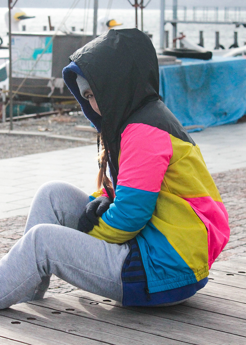 Yellow Pink Black Hood Windbreaker Women