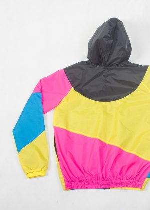 Yellow Pink Black Hood Windbreaker Zoom Back