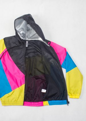 Yellow Pink Black Hood Windbreaker Zoom Open