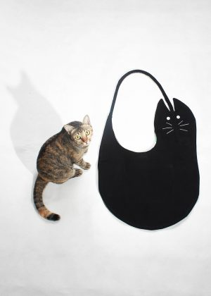 Black cat canvas tote bag with cat