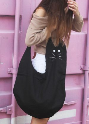 Black cat canvas tote bag zoom