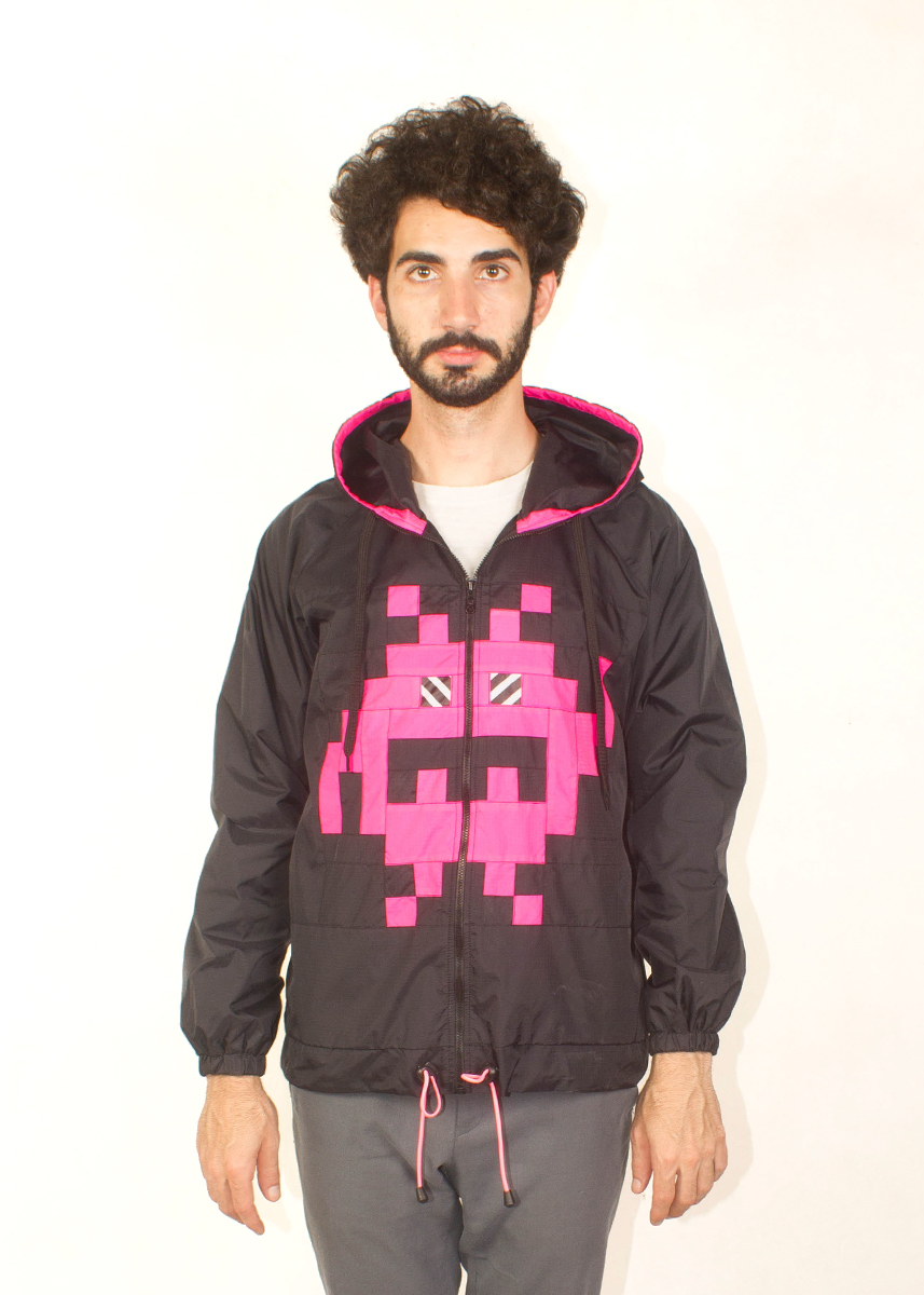 8Bit Monster Windbreaker Pink