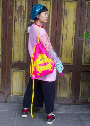 Pixel Monster Backpack Neon Pink