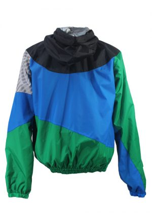 Black Hood Green Blue Windbreaker Jacket