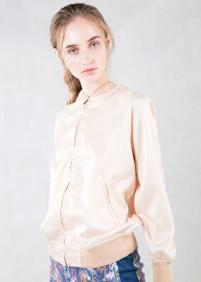 Beige Satin Bomber Jacket