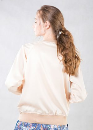 Beige Satin Bomber Jacket Back