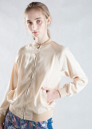 Beige Satin Bomber Jacket Pockets