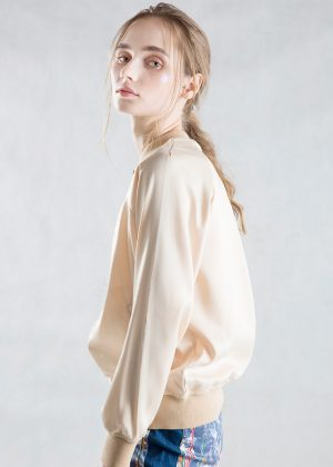 Beige Satin Bomber Jacket Side