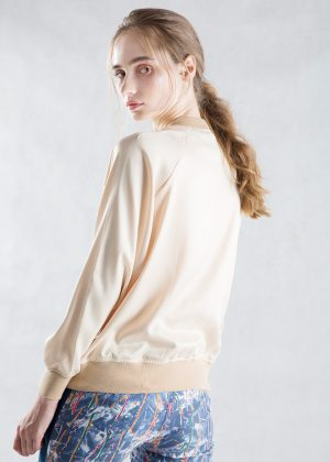 Beige Satin Bomber Jacket Side Back