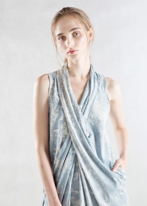 Drape Denim Wash Dress Front zoom
