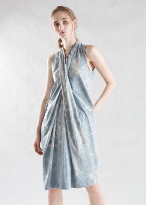 Drape Denim Wash Dress Front Full Length