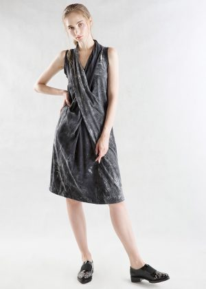 Drape Bleach Wash Dress black f