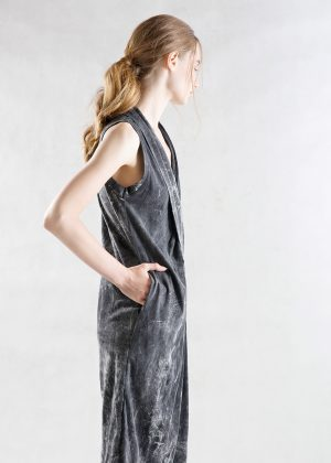 Drape Bleach Dress side black1