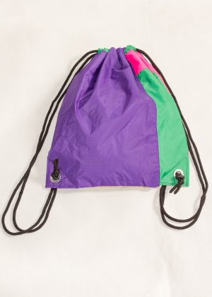Gold Purple Pink Green Drawstring Backpack Back