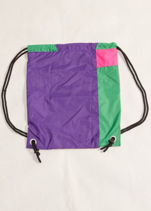 Gold Purple Pink Green Drawstring Backpack Back Zoom