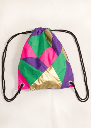 Gold Purple Pink Green Drawstring Backpack Front
