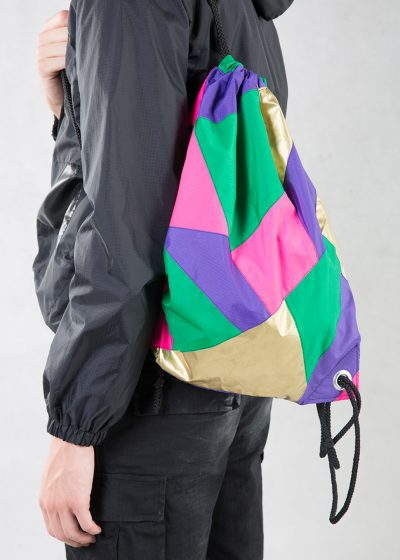 Gold Purple Pink Green Drawstring Backpack Model