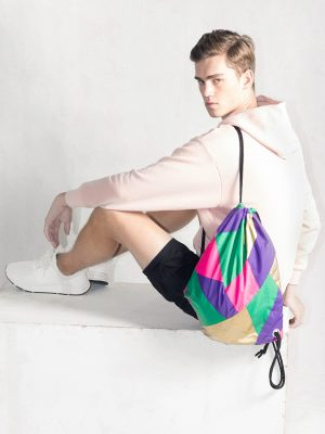 Gold Purple Pink Green Drawstring Backpack Model1