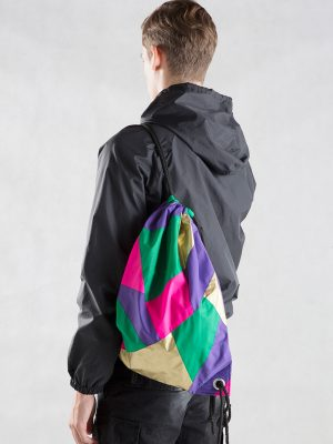 Gold Purple Pink Green Drawstring Backpack Model2