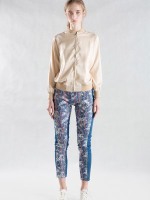 Jean Drip Painting Skinny Pant With bomber