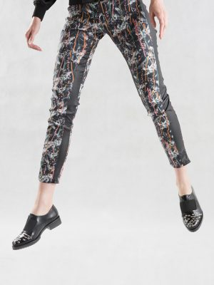 Leather Drip Painting Skinny Pant Jump