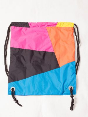 Patchwork Colorful Drawstring Backpack Back Zoom