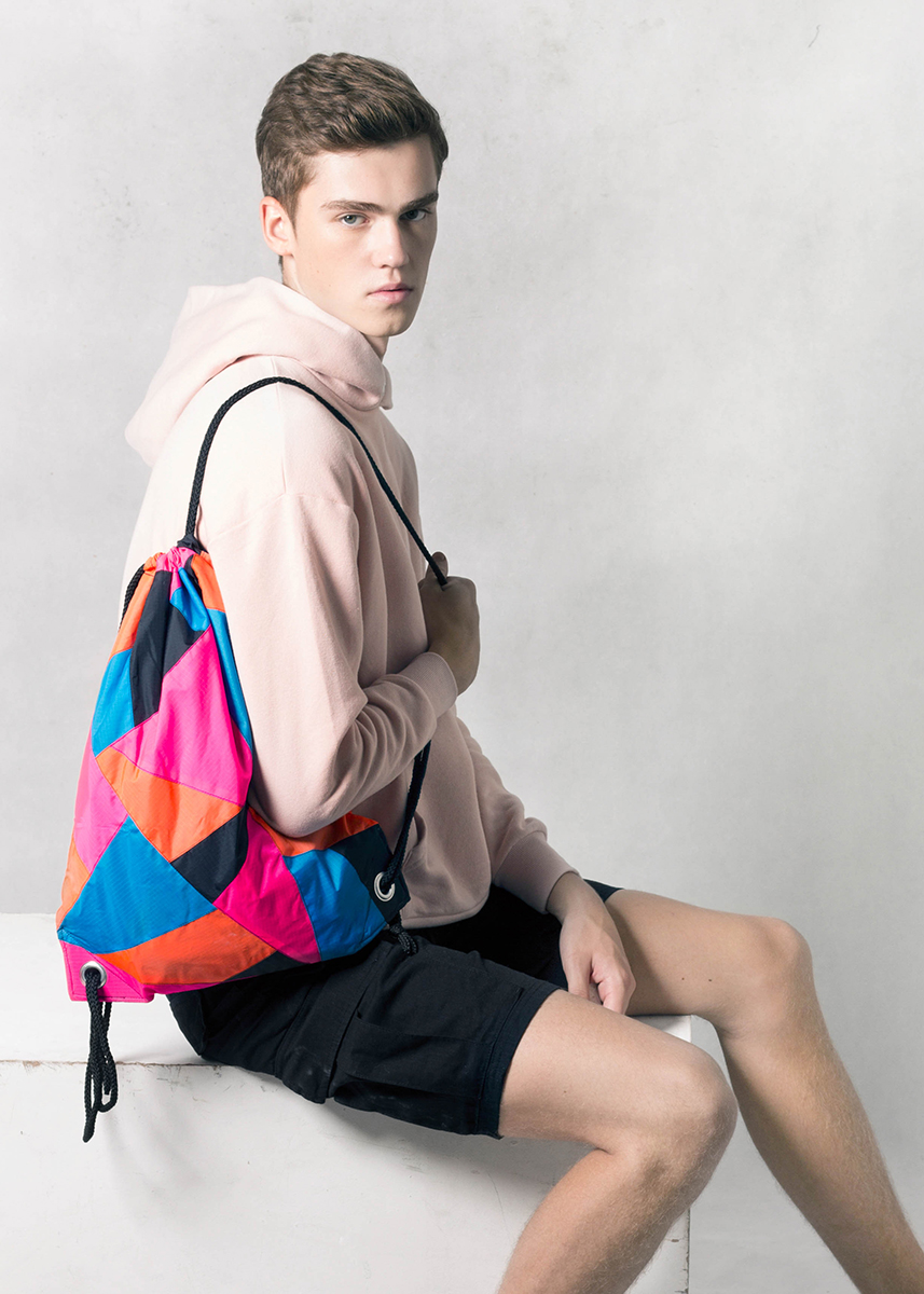 Patchwork Pink Orange Blue Drawstring Backpack