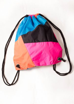 Patchwork Pink Orange Blue Drawstring Backpack Back