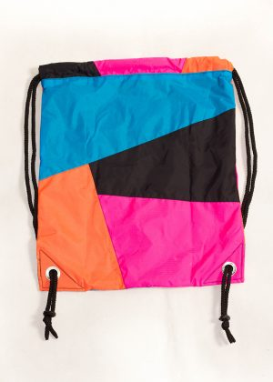 Patchwork Pink Orange Blue Drawstring Backpack Back Zoom