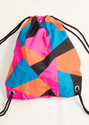 Patchwork Pink Orange Blue Drawstring Backpack Front