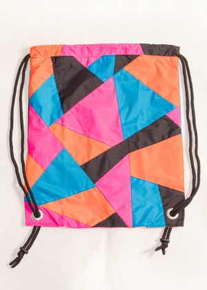Patchwork Pink Orange Blue Drawstring Backpack Front Zoom