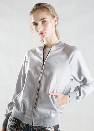 Silver Gray Satin Bomber Jacket