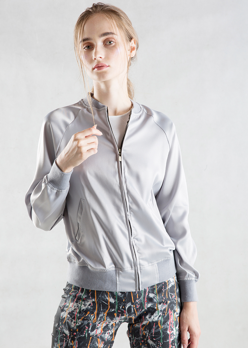 Silver Gray Satin Bomber Jacket Front
