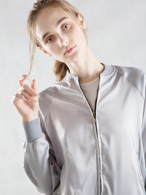 Silver Gray Satin Bomber Jacket Zoom