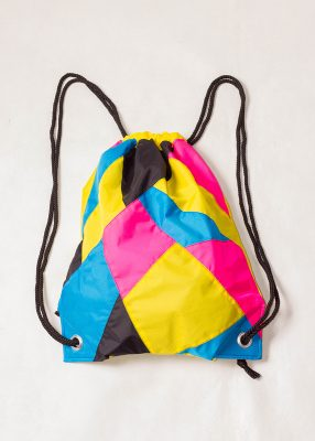 Yellow Pink Black Drawstring Backpack Front