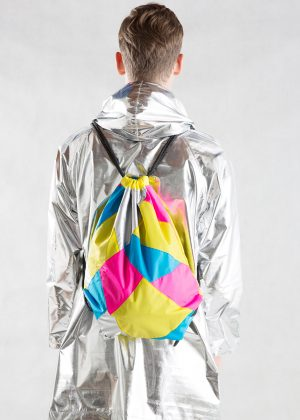Yellow Pink Silver Drawstring Backpack with silver