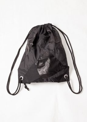 Black Patchwork Drawstring Backpack Front