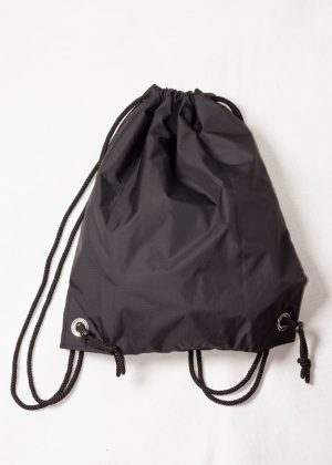 Black Patchwork Drawstring Backpack Fully Close