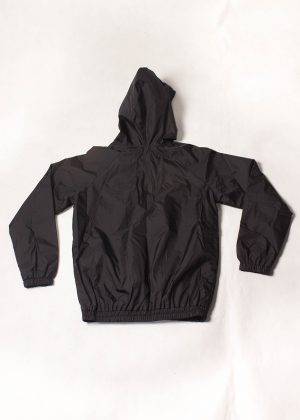 Black Patchwork Hooded Jacket Back zoom